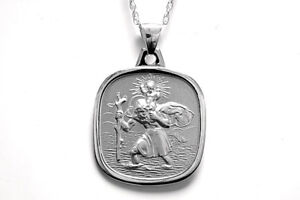 """Sterling Silver St Christopher 22mm double sided and 20"""" chain Gift Boxed"""