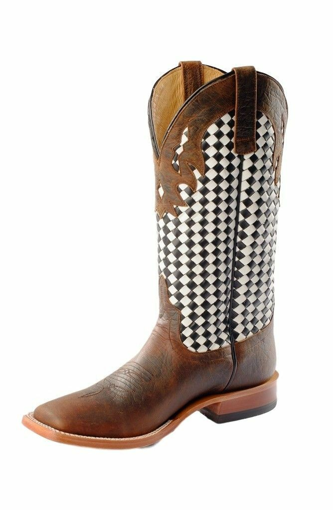 Horse Power Men's HP1778 Pull-On Leather Western stivali Toast Bison nero bianca