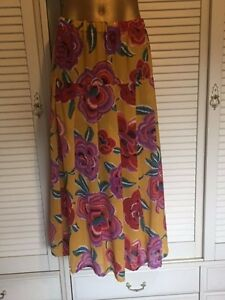 Striking-Light-Weight-Skirt-Yellow-Large-Bold-Flowers-Red-Orange-Mauve-Sz-22