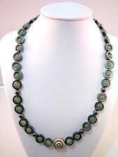 Halskette Jade Hämatit und Silber Schnecke Collier um 1970