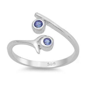 Zehenring-Fussschmuck-Damen-Herren-verstellbar-Sterling-Silber-Blauer-Zirkonia-4