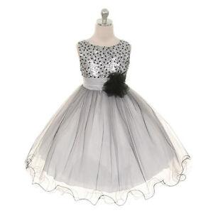 SILVER-Flower-Girl-Dresses-Wedding-Bridesmaid-Recital-Pageant-Formal-Birthday