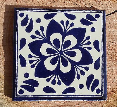 "10~MEXICAN TALAVERA POTTERY 4"" tile Hand Painted Blue COBALT BLUE & WHITE"