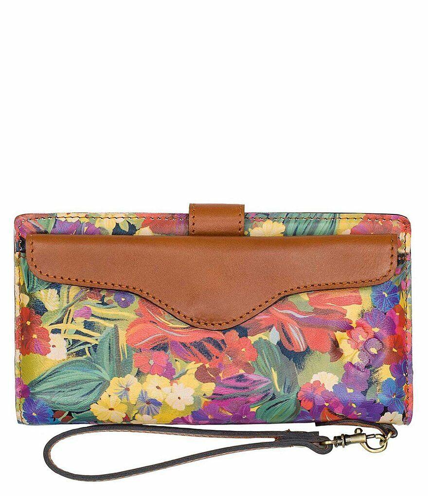 Patricia Nash Valentia Smooth Leather Wallet Citrus Sunrise Flor Brown Wallet NW