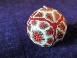 Poinsettia-Christmas-Candle-4-034-Ball-Unique-Stunning-Decoration-Unused-Holiday-A9