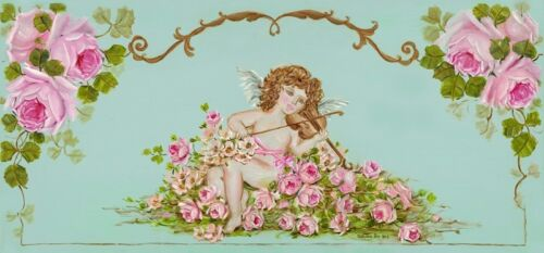 Romantic Shabby Chic Victorian Cherubs and Pink Roses Giclee Canvas Print