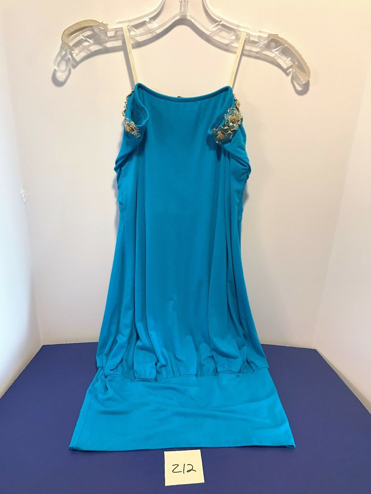 933cde2205e4 ... NWT SKY Brand Dress Turquoise Turquoise Turquoise Aqua Metal gold  Flowers Strapless Short M Z12 345972 ...