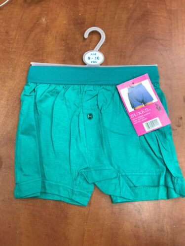 Neuf Garçons Jersey De Coton Boxer Shorts noir bleu vert élastique one bouton ouverture