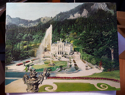 "Painting Schloss Linderhof Palace Bavaria Germany Signed F. Horobin 16""H x 20""W"