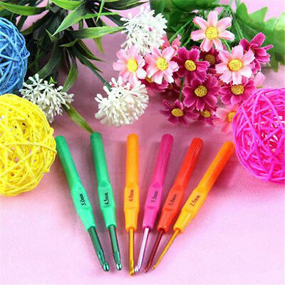 6pcs Multicolor Plastic Handle Aluminum Crochet Hooks Knitting Needles 2.5-5.0mm