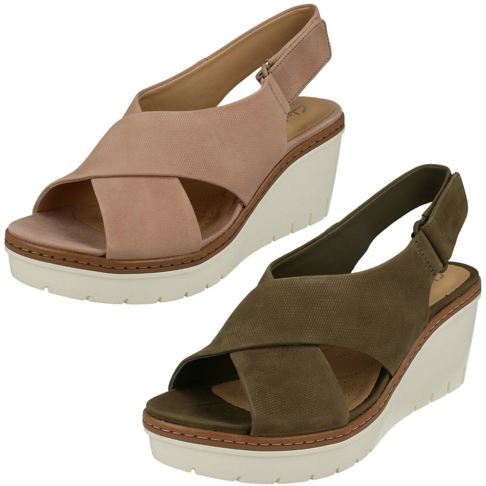 Ladies Clarks 'Palm Candid' bluesh Or Olive Nubuck Leather Wedge Heel Sandals