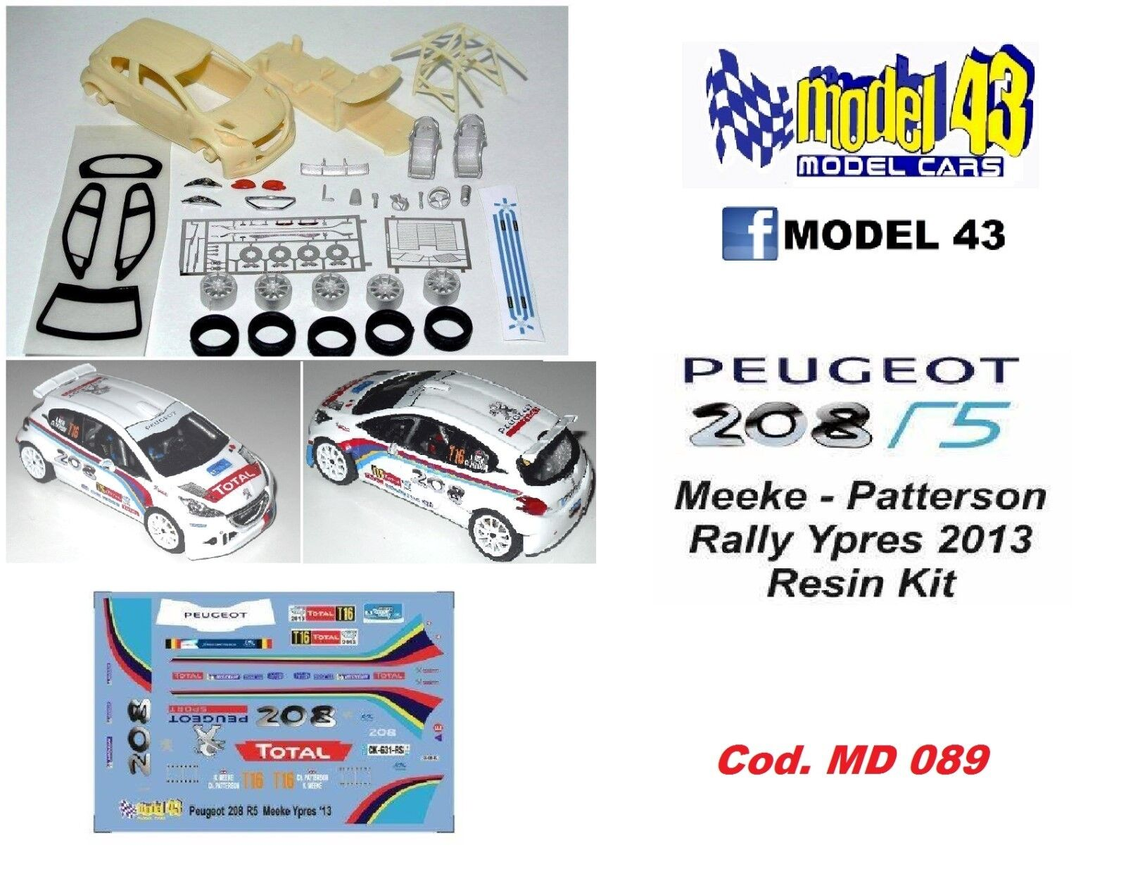 Peugeot 208 T16  R5  PRESENTAZIONE  -   KIT MONTAGGIO + DECAL IN SERIGRAFIA