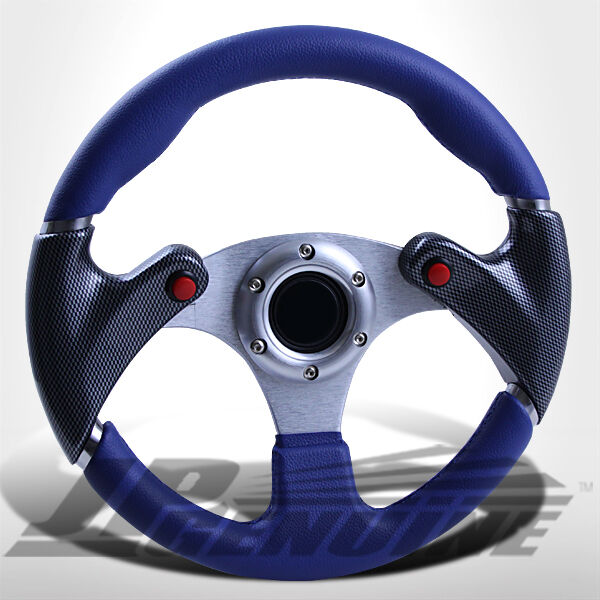 320MM 6 BOLTS NOS BUTTON STEERING WHEEL BLUE/CARBON W/ JDM HORN - UNIVERSAL 3