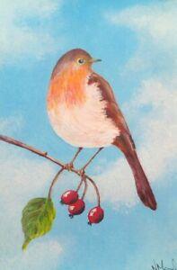 Mon ChéRi Peinture Originale, Acrylique Peinture D'un Robin-afficher Le Titre D'origine