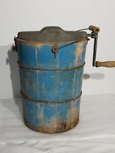 Ice-Cream-Maker-freezer-Handcrank-4-Quart-Wood-Bucket