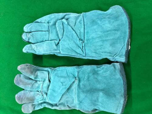 PACK OF 5 LINED GREEN LEATHER GAUNTLET PAIRS