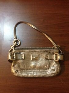 Image Is Loading 100 Authentic Chloe Silver Metallic Leather Paddington Wristlet