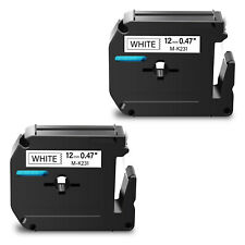 2pk For Brother P Touch Pt 110 12mm Label Tape Mk231 M231 Black On White