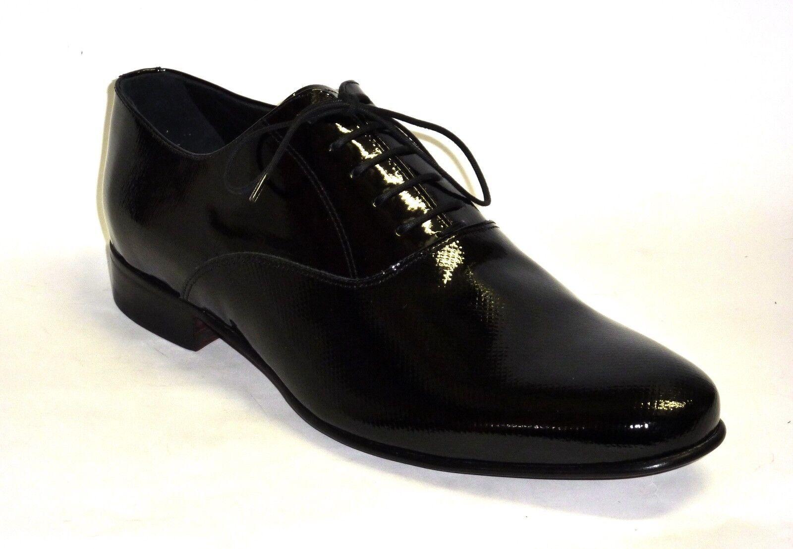 U24412 MELLUSO zapatos hombres ALLACCIATE PELLE VERNICE negro MODA COMODA LUX  n. 42