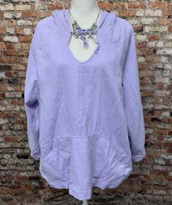 J-Jill-Women-039-s-Size-2X-Lilac-Purple-Long-Sleeve-Hooded-Blouse-Top-D41