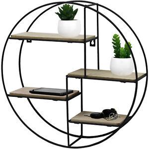 wandregal rund 40x10cm 4 ebenen wandboard h ngeregal metallregal schwarz natur ebay. Black Bedroom Furniture Sets. Home Design Ideas