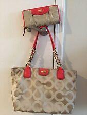 Coach 20481 Madison Tote Bag Purse Handbag Khaki / Papaya & Matching Wallet