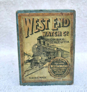 1930s Vintage West End Watches Coal Engine Vintage Vehicle Print Cardboard Box