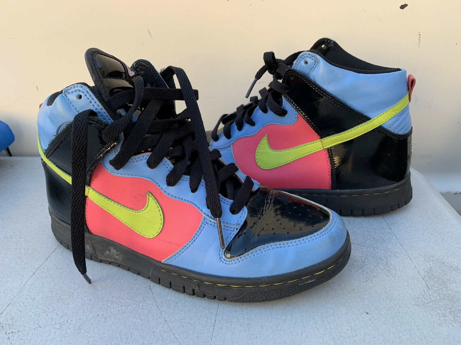 Nike Swoosh Dunk High (Kids) Retro 308319-003 Pink bluee and Black Size 6Y