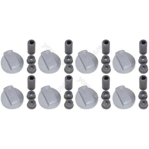 8 X GRIGLIE FORNO per FORNO e fornelli UNIVERSALE MANOPOLE DI CONTROLLO E ADATTATORI argento si adatta a tutte le