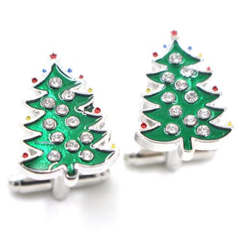 Crystal Enamel Christmas Tree Cufflinks Mens Cuff Links Jewelry Wedding Party—QY