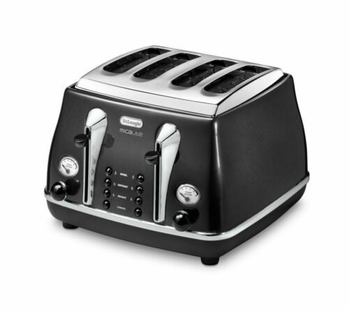 Delonghi Micalite KBOM3001 Jug Kettle Black and CTOM 4 Slice Toaster Set  Black