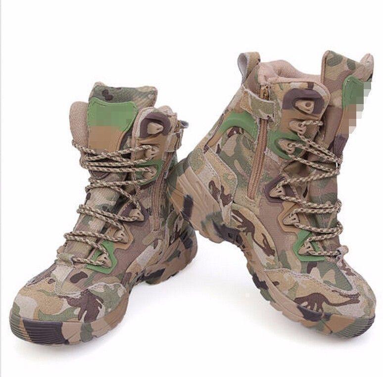 Uomini Camuffamento Esercito Outdoor High Top Lacci Militare Scarpe Stivali Desert B@iu