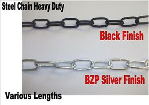 6.0mm x 24mm x 12mm BZP ZINC HEAVY DUTY THICK STEEL SECURITY WELDED CHAIN LINKS