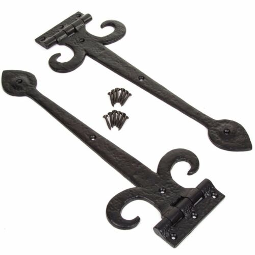 """2 x Pairs 17/"""" Long BLACK CAST IRON TEE HINGE Strap Door//Gate//Shed Country Gothic"""