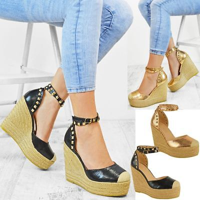 Womens Ladies Wedges High Heels Summer Sandals Studded Embellished Shoes Size UK | eBay