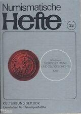 Numismatische Hefte 33 Jahrbuch Thüringer Münzen Geldgeschichte 1987 Thüringen