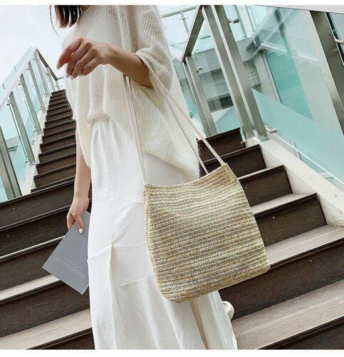 Bag Shoulder Bohemian Women Handbag Beach Hand Woven Rattan Straw Summer Large