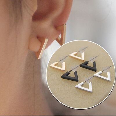 1pair Women Punk Triangle Ear Studs Concise Geometry  Earrings Jewelry Decor