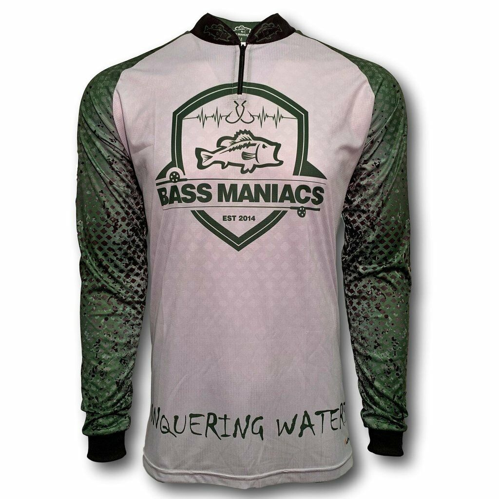 NEW BASS MANIACS  FISH SLEEVES BASS FISHING JERSEY UPF 35 FeatherLITE  selling well all over the world
