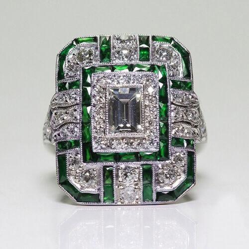 Luxury 925 Silver Emerald Sapphire White Topaz Ring Wedding Engagement Ring 6-10