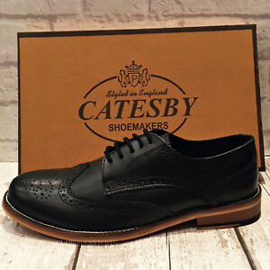 Mens Catesby Black Leather Lace-Up