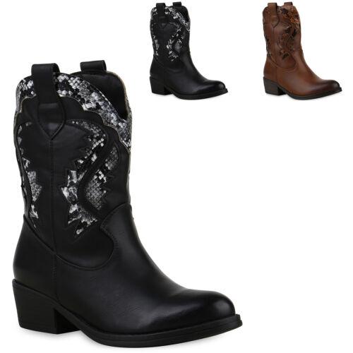 Damen Stiefeletten Cowboy Boots Schuhe Western Stiefel 825833 Trendy Neu