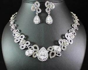 AUSTRIAN-RHINESTONE-CRYSTAL-NECKLACE-EARRINGS-SET-BRIDAL-WEDDING-AB89172