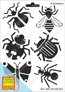 Schablone-Stencil-A5-004-0561-6-Insekten-Neu-Heike-Schaefer-Design