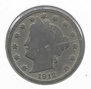 1912-S Liberty V Nickel F/VF Details Key Date Low