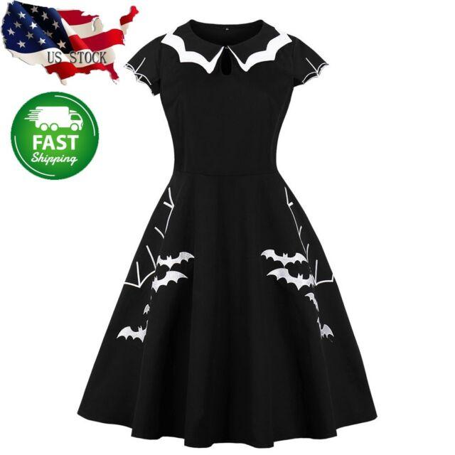 US Women Halloween Retro Dress Elegant Printed Bat Vintage Evening Party Dresses