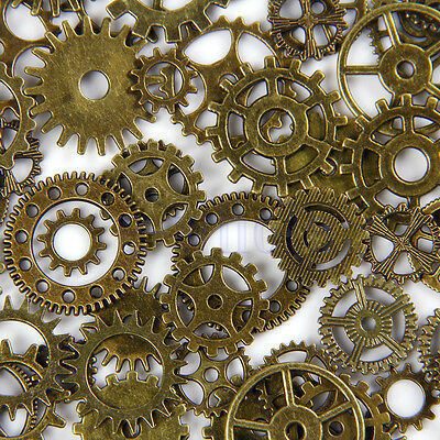 20pcs Bronze Watch Parts Steampunk Cyberpunnk Cogs Gears DIY Jewelry Craft HM