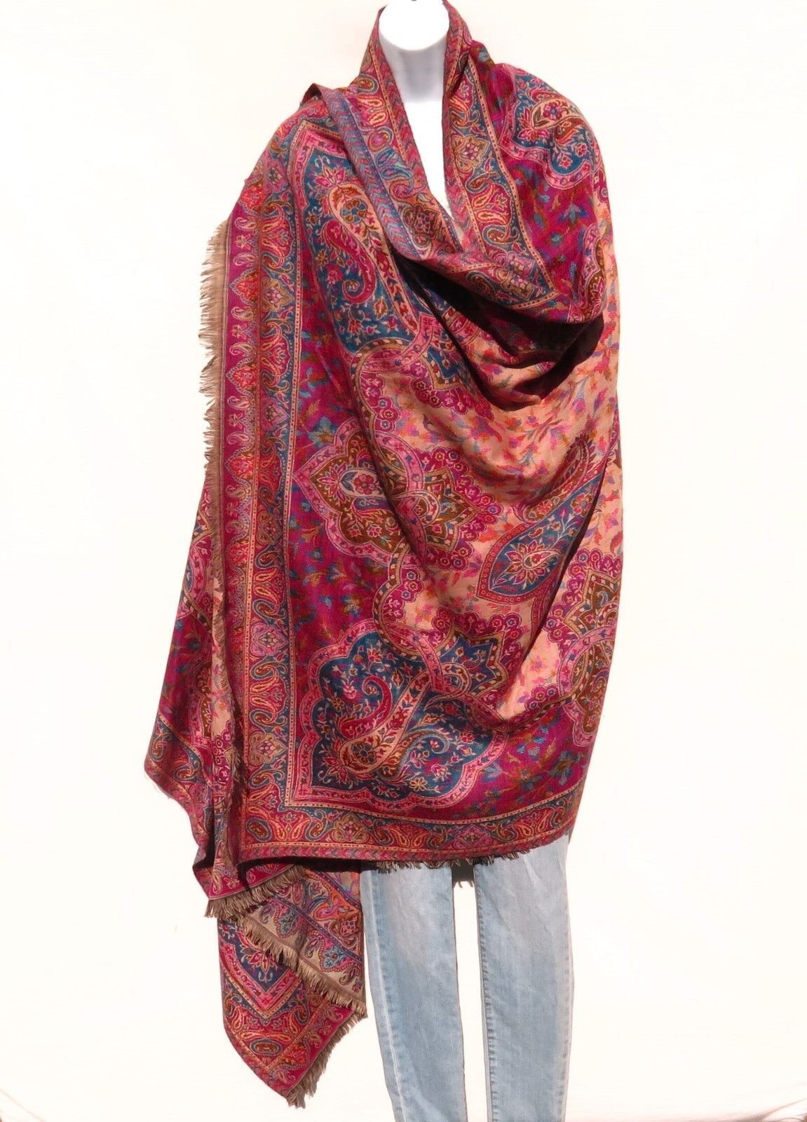 Yak Sheep Wool Blend Shawl Throw Handloomed  Kashmir color  Fuchsia Cyan Sand