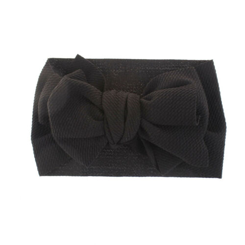 Kids Girls Cute Big Bows Texture Top Knot Wide Headband DIY Hair Band Headwrap