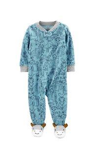 Carters Little Boys 1-Piece Dinosaur Fleece Footie Pajamas